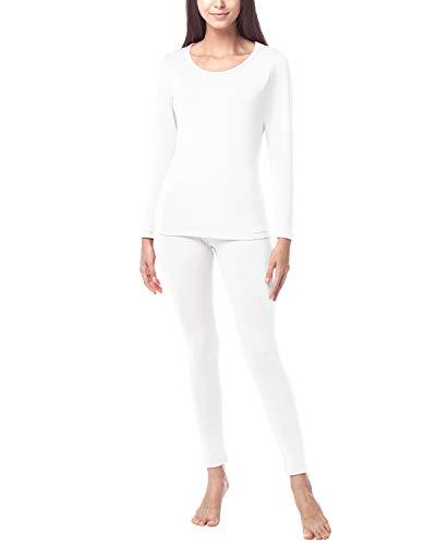 LAPASA Donna Set Termico - Ti Tiene al Caldo Senza Stress- T-Shirt Maniche Lunghe & Pantaloni Invernali Ultra Leggero L17 (X-Large, Bianco(Nuova Tagli