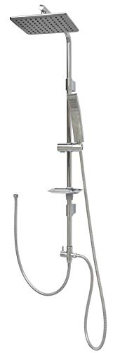 Regendusche Set ohne Armatur 100cm Duschstange mit Überkopfbrause höhenverstellbare Wandhalterung in Chrom