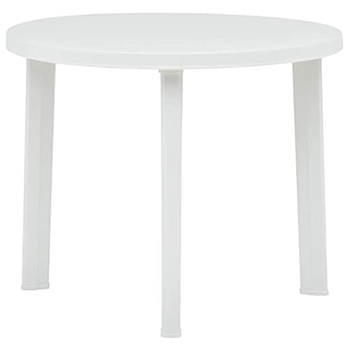 """ZAMAX Weather Resistant Plastic Garden Table, Outdoor Small Round Coffee Table Lightweight Dining Tables for Patio, Balcony and Pool Deck, 35"""" x 27.2"""" (Diameter x H) (White)"""