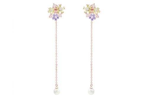 Multi-color Cubic Zirconia & Shell Pearl Flower Chain Dangle Earrings In 925 Sterling Silver