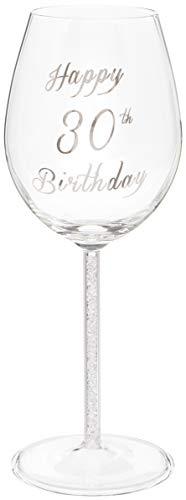 Happy 30th Birthday - Copa de vino con tallo de diamante plateado, 400 ml