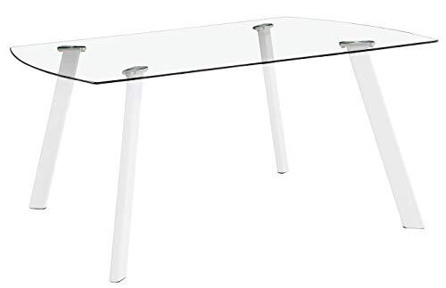 Miroytengo Mesa Fija Cristal Vidrio Transparente Comedor Glass salón Patas Blancas diseño Moderno 120x80x76