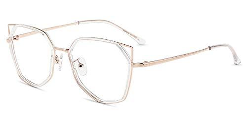 Firmoo Occhiali di Gatto Donna Luce Blu Bloccanti per il Mal di Testa, Occhiali per Computer Antiriflesso Dormire Meglio (Trasparente-Oro)