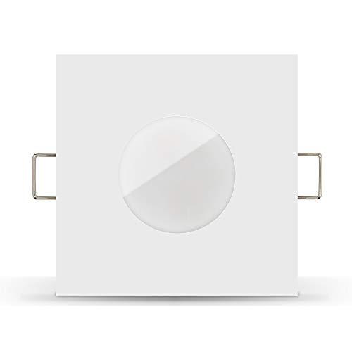 Ledox Lista Aqua Led Bad Einbaustrahler Set IP65 dimmbare steuerbare Farbtemperatur dim2warm 230V 7W Modul flach inkl. Mini Trafo als Badbeleuchtung mit Ambiente Ra>95 (1er Set 1800K-3000K warmweiß)