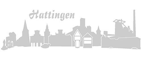 Samunshi® Wandsticker Hattingen Skyline Wandtattoo verschiedenen Größen und Farben lieferbar in 7 Größen und 25 Farben (30x9cm silbermetalleffekt)