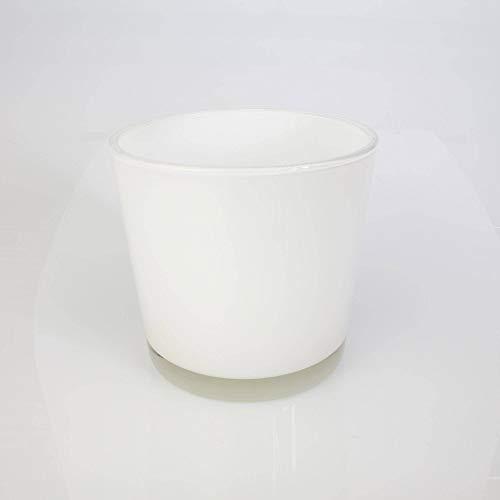 INNA-Glas Runde Vase - Blumentopf Alena, weiß, 16cm, Ø 17cm - Dekovase - Konisches Glas