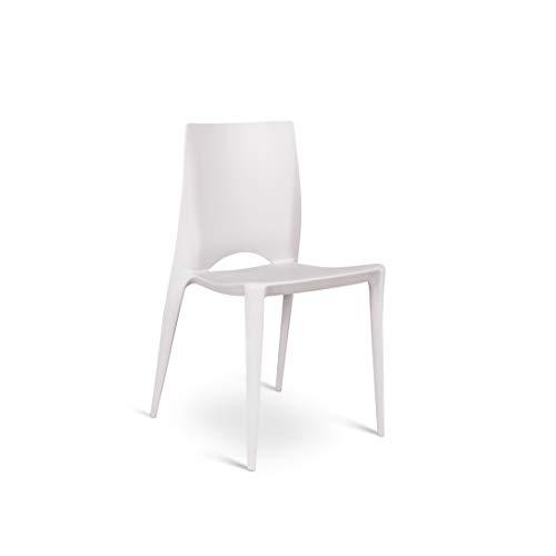 Stones Denise Set di 4 sedie in polipropilene, Grigio, L 44 x P 41 x H 84 cm, H seduta 48 cm, 4 Unità