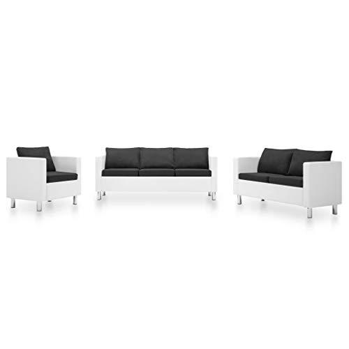 FAMIROSA Set de sofás de 3 Piezas Cuero sintético Blanco y Gris Oscuro