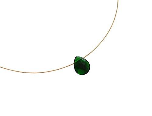 Gemshine - Damen - Halskette - Anhänger - Vergoldet - Turmalin Quarz - Tropfen - Facettiert - Grün - 45 cm