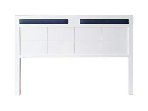 cabecero Siena Fabricado en Madera Maciza de Pino insigni Acabado en Blanco (para Cama de 135 (145 x 120 cm), Tapizado Azul)