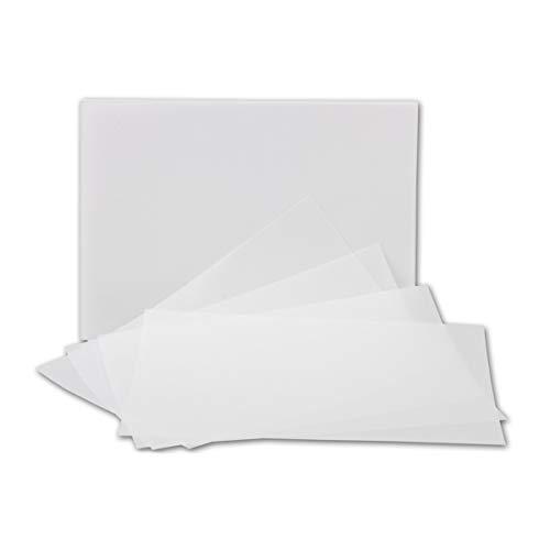 50x ungefalztes einfaches Einlege-Papier für B6 Karten - transparent-weiß - 123 x 174 mm - hochwertiges durchsichtiges Papier ohne Falz - von GUSTAV NEUSER®