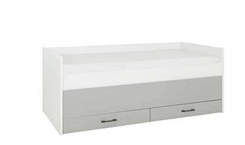 Muebletmoi - Cama individual (90 x 200 cm), color gris y blanco