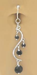 Fake Belly Navel Non Clip on Piercing Black Unique Vine Dangle Ring