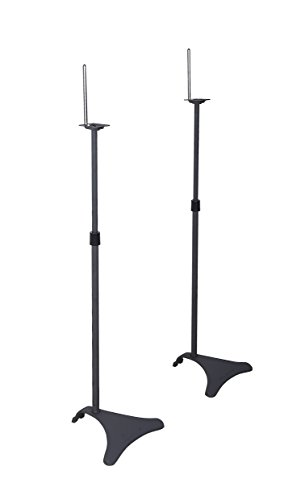 "Atlantic Adjustable Height Speaker Stands - Set of 2 Holds Satellite Speakers, Adjustable Stand Height from 22"" to 38"", Heavy Duty Powder Coated Aluminum with Wire Management PN77305018 in Black"
