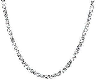 Round Bezel Set Cubic Zirconia 925 Sterling Silver Tennis Necklace - Jewelry Accessories Key Chain Bracelet Necklace Pendants