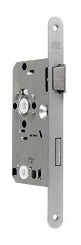 BKS Standard Badezimmer Türschloss mit Vierkant, Falle und Riegel aus Metall, 55/78/8, Stulp: 20 x 235mm abgerundet, DIN Rechts incl. SN-TEC® Montageset