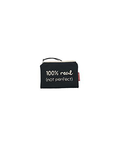Hello-Bags Bolso Monedero/Billetero/Tarjetero Algodón 100% Negro con Cremallera y Forro Interior 14 cm * 10 cm Incluye sobre Kraft de Regalo