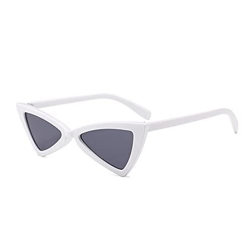 NJJX Gafas De Sol Vintage Con Forma De Ojo De Gato Para Mujer, Montura Pequeña, Triangular, Para Mujer, Gafas De Sol Para Hombre, Retro, Blanco-Gris
