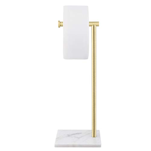 KES Natural Marble Free Standing Toilet Paper Holder Stand Bathroom Tissue Roll Holder SUS304 Stainless Steel Brushed Brass Finish, BPH285S1-BZ