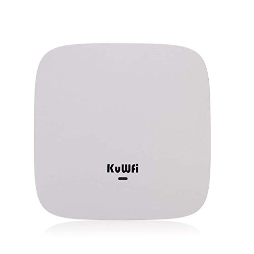 KuWFi Ceiling Mount Wireless Access Point, Dual Band Wireless Wi-Fi AP Router with 48V POE Long Range Wall Mount Ceiling Router Supply a Stable Wireless Coverage