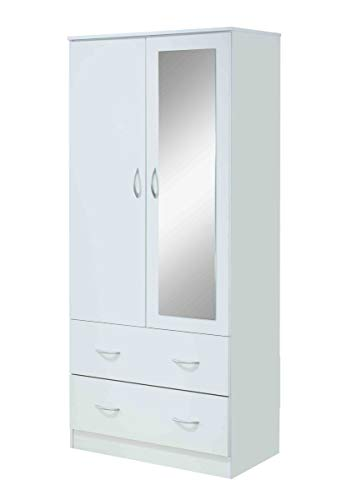 Hodedah 2-Door 2-Drawers, Mirror and Clothing Rod in White Armoire