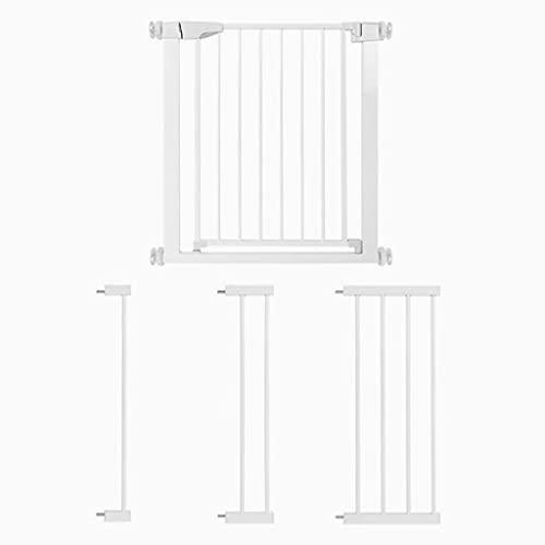 Puerta Seguridad bebé Exterior, Valla Extensible, Barrera Seguridad Perros, Auto Close, Posibilidad de Extensión hasta 131 cm (Blanco)