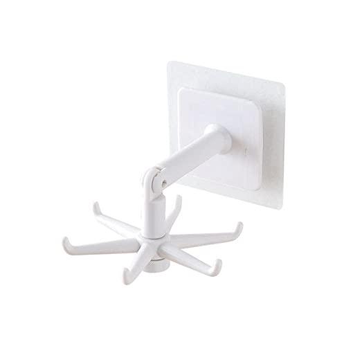 Ganchos multiusos giratorios de 360 ° Gancho para vajilla de cocina Organizadores de baño de cocina Ganchos de almacenamiento de cocina autoadhesivos, Blanco