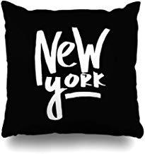 GFGKKGJFF0812 - Funda de cojín con Texto en inglés New York City Black White Lettering, 45,7 x 45,7 cm, para sofás, Asientos, Fundas de Almohada para niñas