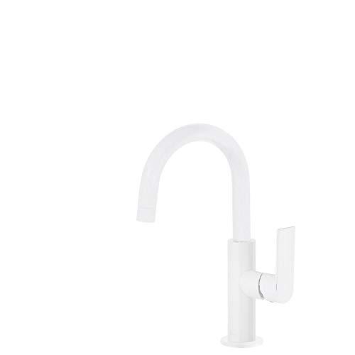 Monomando lavabo Loft Colors con caño con giro de 360 grados, maneta, 13,3 x 10 x 27,5 centímetros, color blanco mate (Referencia: 20020504BM)