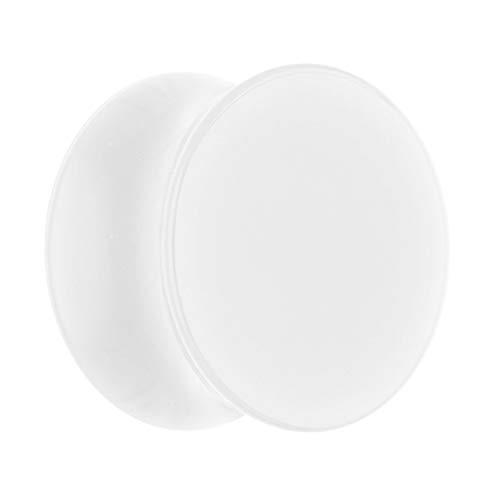 Treuheld® | 30mm Ohr Plug in Weiß | Acryl/Kunststoff | Double Flared - Ohne Gewinde | Classic Flesh Tunnel Plug | Hochwertig und Hautfreundlich