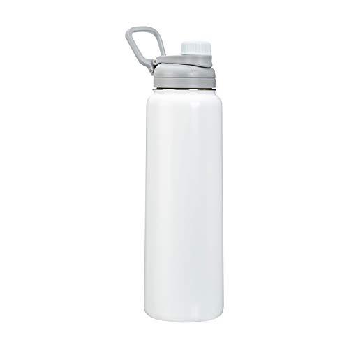 Amazon Basics - Borraccia termica in acciaio inox, con coperchio con beccuccio, 850 g, bianca