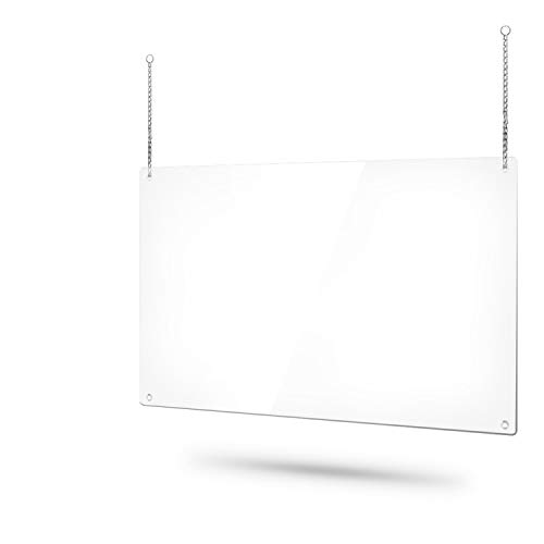 36 x 22 Inch Portable Hanging Sneeze Guard Shield for Counter, PVC Foldable 0.7lb Lightweight Countertop Sneeze Shield Barrier, Chains Included, Cashier Protection Sneeze Guard for Salon, Clerk