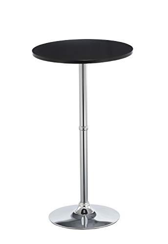 Duhome Elegant Lifestyle Bartisch Stehtisch aus Holz (MDF) Bistrotisch Tisch Hochtisch Höhe 105 cm Farbwahl, Farbe:Schwarz, Material:MDF
