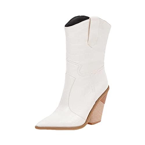 Stivaletti da donna grosso blocco alto tacco impilato a punta stivaletti moda slip on Western BootsPunta chiusa High Top Comfort scarpe Botas para Mujer, bianco, 37 EU