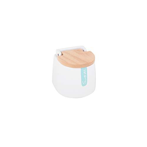 KOOK TIME– Azucarero cerámica con Tapa de Madera y Cuchara de Acero Inoxidable Sugar – Blanco
