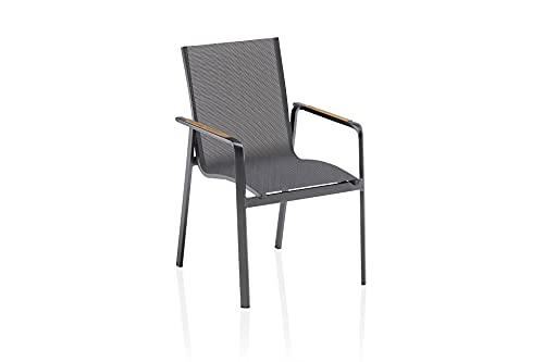 Kettler Diamond - Sedia impilabile, struttura in alluminio con braccioli in teak, per esterni