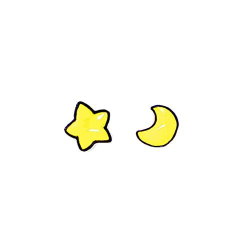 Hipoalergénico Pendientes de perno de dibujos animados lindos - estrella de luna amarilla irregular - pequeños tachuelos pequeños para mujeres para mujeres adolescentes, 2021 diseño de moda Accesorios