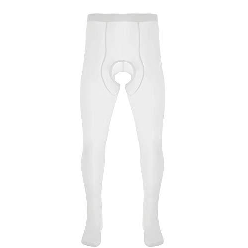 ranrann Sexy Leggings para Hombres Elásticas Medias Erótica Ropa Interior Enterpierna Abierto Seda de Hielo Pantys Pantyhose para Chicos Blanco One Size