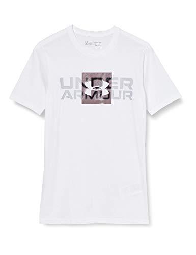 Under Armour Box Logo Wordmark SS, Camiseta Hombre, Blanco (White/Slate Purple), L