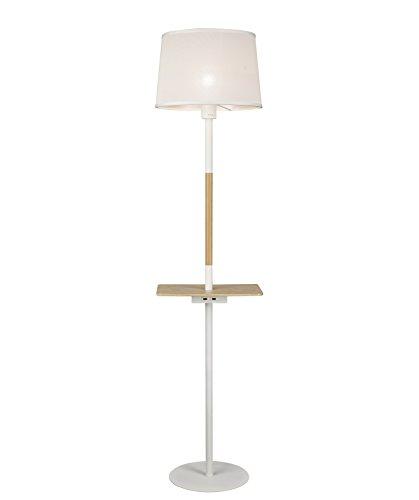 Mantra Iluminación. Modelo NÓRDICA II. Lámpara de pie con lector USB de estilo nórdico fabricado en madera, metal y plástico acabado en color blanco y madera