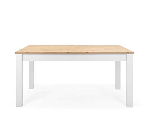 lifestyle4living Auszugstisch in Weiß mit Tischplatte in Eiche Nachbildung, 1 Auszugsplatte, hochwertiger Synchronauszug, B/H/T ca. 160-215/75//90 cm