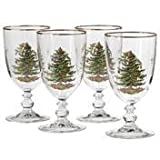 Spode 4339601 Christmas Tree Pedestal Goblet - Set of 4,