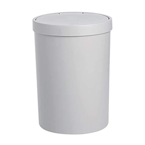zlw-shop papeleras Cubo de Basura de plástico PP Cubo de Almacenamiento Cubierto Redondo Tipo de Prensa Bote de Basura (Color : Gray)