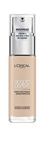 L'Oréal Paris - Fond de Teint Fluide Accord Parfait - Peaux Sèches à Normales - Teinte : Ivoire Rosé (1.R) - 30 ml