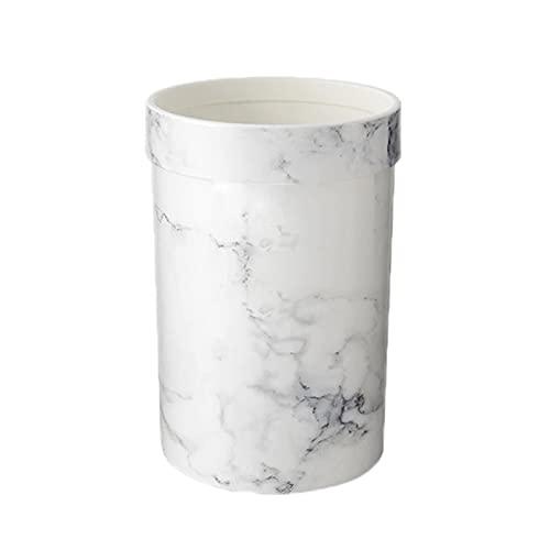 FIJTPSAN Patrón de mármol Plastic Plastic Pack Office Baño Cocina Papelera de Basura Binded Room Dormitorio Bardete sin Tapa Estilo Europeo