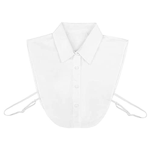 FEEE-ZC Top de Blusa de Cuello Falso Blanco con Media Camisa de Cuello Desmontable para niñas, Mujeres, señoras
