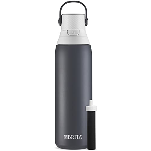 Brita Stainless Steel Water Filter Bottle, Carbon, 20 Ounce, 1 Count