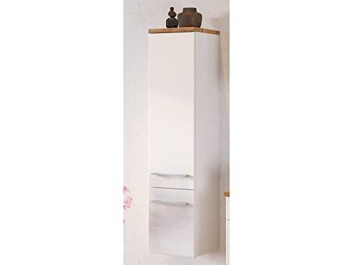 möbelando Midischrank Badschrank Hängeschrank Badezimmerschrank Schrank Bad Davos I Weiß/Weiß-Matt