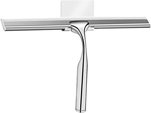 Raclette de douche en acier inoxydable - Raclette de douche avec crochet adhésif sans perçage - Raclette de douche avec crochet mural pour salle de bain, cuisine, fenêtre et voiture