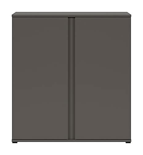 Boardd, credenza autoportante per buffet, con 2 ante grafica, colore: grigio, 85,5 x 91,5 x 38,5 cm